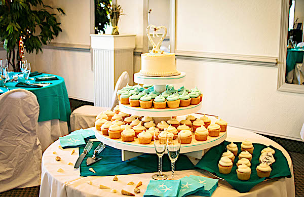 A wedding at the sea ranch resort in north carolina is complete with a carousel of cupcakes, These cupcakes made our wedding couple very happy on the oceanfront in kill devil hills at the sea ranch resort, Featuring a wedding venue we can provide cupcakes for your wedding