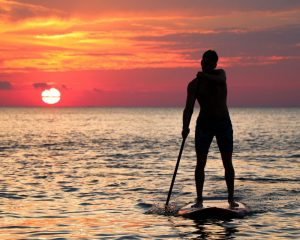 Paddle Boarder in Sunset Outer Banks