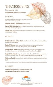 Outer Banks Thanksgiving 2018 menu at Beachside Bistro
