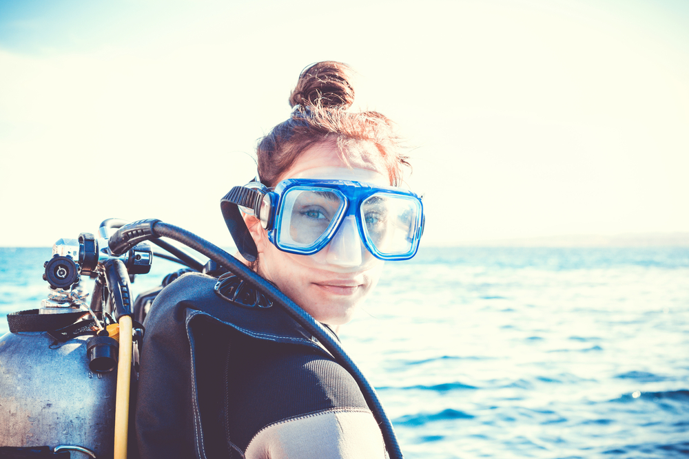 Photo of a woman ready to go scuba diving in North Carolina